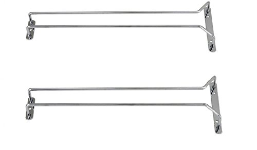 Great Credentials Set of 2-16-Inch Long Wine Glass Rack Wire Hanging Rack Wine Glass Hanging Rack Wire Wine Glass Hanger Rack Stemware Rack Under Cabinet Chrome Finish chrome