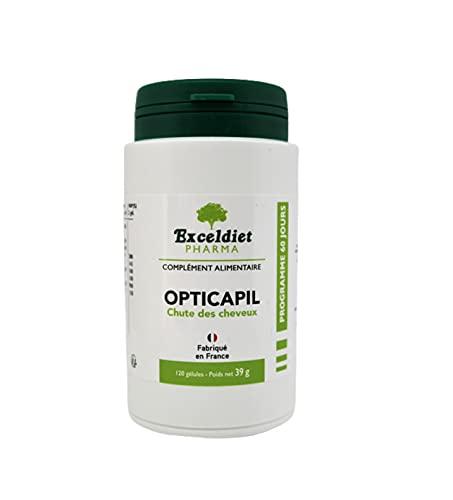 Opticapil | Calvitie Homme | Chute des Cheveux | Accélère la Pousse des Cheveux | 9 Composants Actifs | 120 Gélules Végan