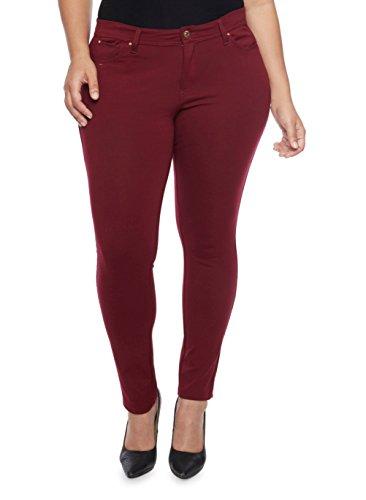 1826 Jack David Womens Plus Size Cotton Twill Stretch Skinny Pants (20, Burgandy/Wine)