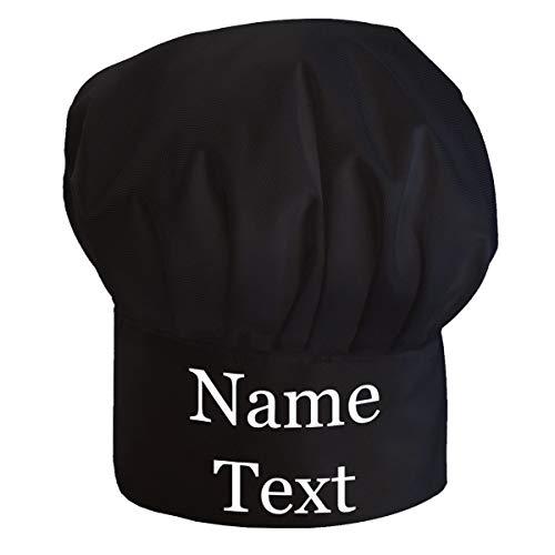 Cappello da cuoco regolabile Per adulti con il tuo nome accessori da cucina con il testo desiderato Nero con Testo [108]