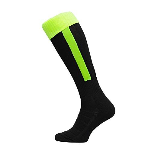Nessi Fußballstutzen Modell B Fußball Strümpfe Stutzen 100% Atmungsaktiv viele Farben - schwarzneongelb, 27-31