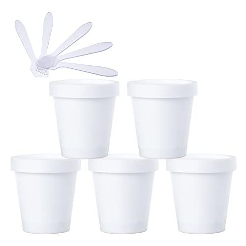 TIANZD 5 Pieza Envases Cosmética Plástico Blanco 200ml Tarro de Cosmética 200 g Cuenco de Mascarilla con Tapa para Barro de Máscara Cremas Hidratantes Loción Ungüento Sal de Baño conEspátulas