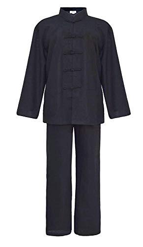FHKL Tai Chi Uniform Kleidung Chinesischen Stil Tang Anzug Langarm Hemd Anzug Multi-Color Optional Baumwolle Und Leinen,Black-175