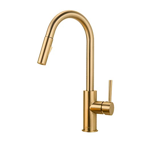 Brass Gold Kitchen Faucet with Pull Down Sprayer