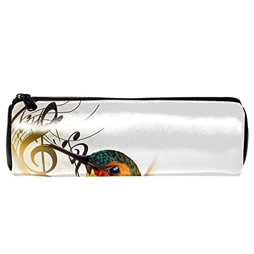 Estuche para lápices con diseño de colibrí y notas musicales, bolsa de almacenamiento, organizador de cosméticos para la escuela, adolescentes, niñas, niños, hombres y mujeres