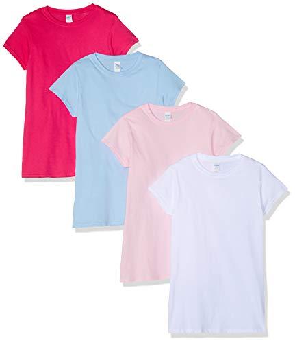 Gildan Damen-T-Shirt, gemischtes 4er-Pack, Weiß