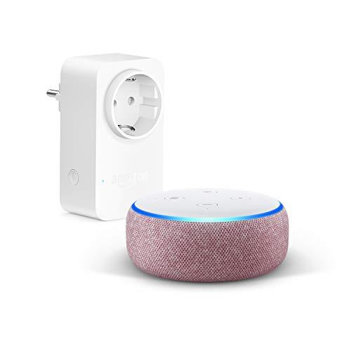 Echo Dot (3.ª generación), Tela de color malva + Amazon Smart Plug (enchufe inteligente WiFi), compatible con Alexa