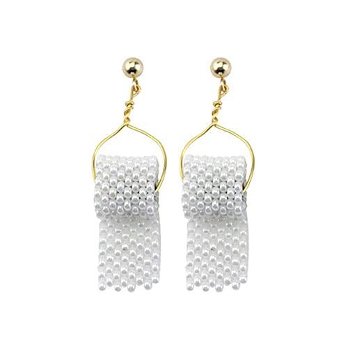 junmo shop Pendientes colgantes para mujer, con perlas de imitación de papel, con gancho, pendientes de moda, para citas, fiestas, playa, regalos de cumpleaños de San Valentín