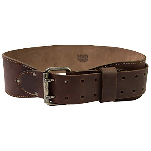 Hide & Drink, Double Prong Weightlifting Leather Belt, (3 in.) Wide, Size (31 in. to 38 in) Handmade Includes 101 Year Warranty :: Bourbon Brown