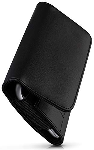 moex Comfortable horizontal case with belt clip compatible with Motorola Moto E7 | universal use with belt loop and magnetic closure, black