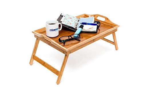 Relaxdays Bandeja, Doble función, Mesa de Desayuno, Patas desplegables, bambú, Borde Alto