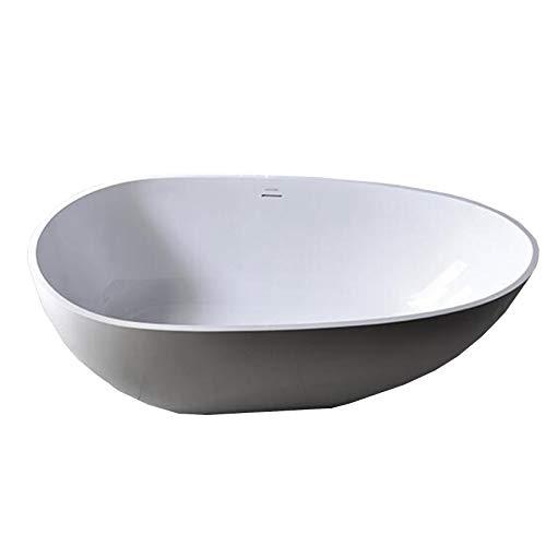Freistehende Badewanne VELA aus Mineralguss Solid Stone - Farbe und Größe wählbar, Farbe:Weiß (hochglanz), Größen:150 x 76 cm