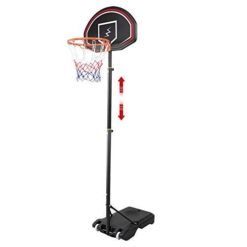YOLEO Canasta de Baloncesto Exterior Niños 160 - 210 cm Ajustable , Móvil con Ruedas, Sistema de Red Aro de Baloncesto con Ruedas, Negro
