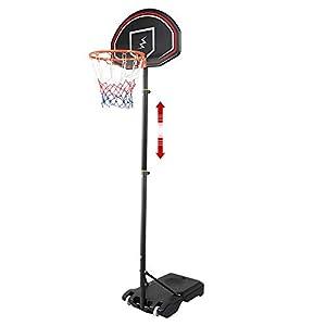 YOLEO Canasta de Baloncesto Exterior Niños 160-210 cm Ajustable, Móvil con Ruedas, Sistema de Red Aro de Baloncesto con Ruedas, Negro