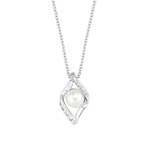 Amor - Cadena con colgante para mujer, plata 925, 42 + 3 cm, árbol de la vida, color blanco