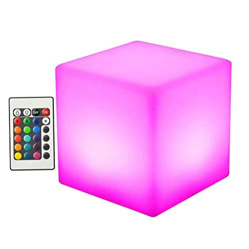 Uonlytech luz flotante led luz de trayectoria de cubo led que cambia de color con control remoto lámpara de césped led para jardín de fiestas en la piscina (1 piezas 15 cm)