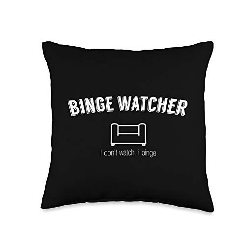 Binge Watching Shirts & Merch Watching Gift Binge Watcher Couch Survival Kit Throw Pillow, 16x16, Multicolor