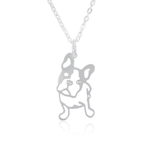 Collar Bulldog Francés para Mujer, Plata de Ley 925, Colgante Perro con Cadena 40 cm
