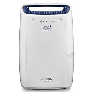 De'Longhi DEX212F - Deshumidificador de ambiente para casa, 300 W, 12 litros, 37 Decibel, plástico, blanco, 22 x 33,4 x 50,8 cm