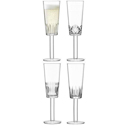 LSA International des Tatras Flûte à Champagne 250 ML Transparent/Assortiment des Coupes X 4, Clair, Lot de 4
