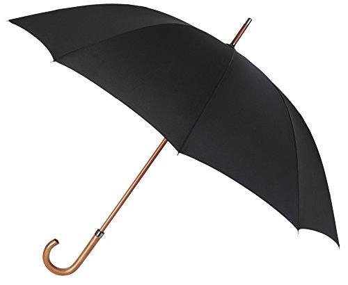 Elegante y Atemporal Paraguas de Hombre de la Marca VOGUE. Color Negro, Largo y con un Bonito Mango de Madera. Antiviento y Acabado Teflón Repelente al Agua.