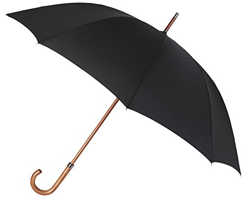 Elegante y Atemporal Paraguas de Hombre de la Marca VOGUE. Color Negro, Largo y con un Bonito Mango de Madera. Antiviento y Acabado Teflón Repelente al...