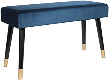 THE HOME DECO FACTORY Banc Velours Bleu, Bois, 78,5 x 30 x 45 cm