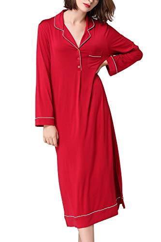 Dolamen Chemises de Nuit Femme, 2018 Lounging Modal Coton Femmes Ensemble de Pyjama, Top Loose Longue Chemise de Nuit en Manche Longue (X-Large, RougeII)