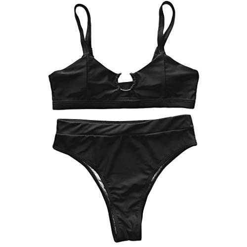 KunmniZ Mujeres Sexy Bikini Set Push up Metal Anillo de Traje de baño Leopardo Snakeshin Beachwear Vista del Traje de baño de EcoFilouse para Vacaciones Playa de de la Tira de Vacaciones