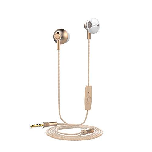 ◎M1B in-ear hoofdtelefoon met stereo-knop, 3,5 mm, goudkleurig