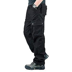 メンズ カーゴパンツ 作業着 ズボン ストレート 多機能 ワークパンツ 大きいサイズ パンツ 006 ブラック 28W