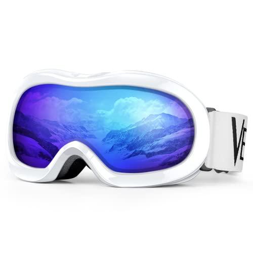 Kids Ski Goggles, Snowboard Goggles - VELAZZIO OTG Snow Goggles Anti-Fog Double-Layer Lenses, 100% UV Protection (White Frame/Grey Lens with REVO Blue Coating (VLT 17%))