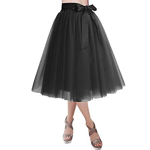 YCX Damen Vintage Petticoat Unterrock Reifrock, Für Hochzeit Brautkleid Retro Prinzessin Tutu Rock Tüllrock Faltenrock Mit Schleife Zu Party Fest,Schwarz,XL