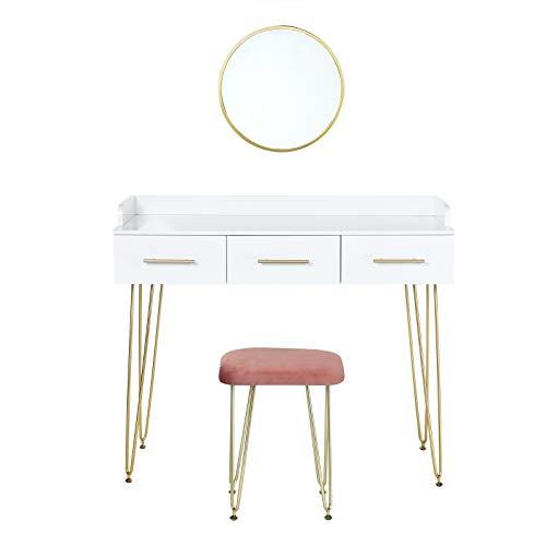 EUGAD 0025SZT Schminktisch mit Spiegel Sitzhocker Frisiertisch mit Schubladen Große Tischplatte 100x40cm, Modern Kosmetiktisch für Schlafzimmer, Weiß