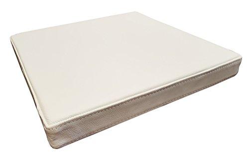 Quattro Meble Zitkussen, wit echt leer, zitkussen voor stoel, stoel, bank, dubbel genaaid, echt leer, kussen, zitkussen 45 x 45 cm Wit - Hermes Pure White