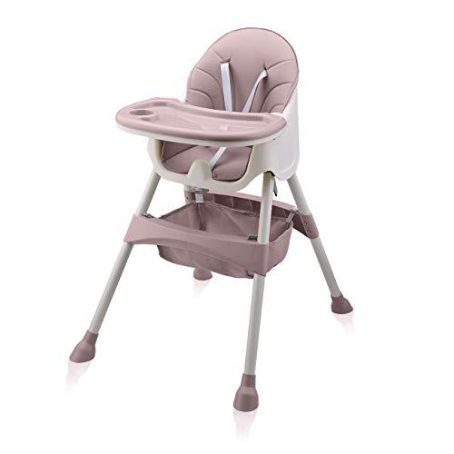 Baby Vivo Trona de bebe 2en1 Silla para Niños con desmontable Bandeja para Niño convertible en Sillita de 6 meses a 3 años - cesta colgante - Oscar en Rosado