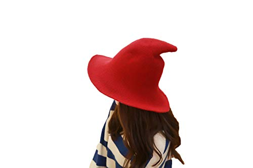 mettime US Womens Fashions Cute Wool Big Brimmed Witch Pointed Hats Knitted Wizard's Solid Color Bucket Cap Claret Red