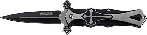 Tac-Force Taschenmesser Schwarz Aluminium silbernes Kreuz, TF-817BK