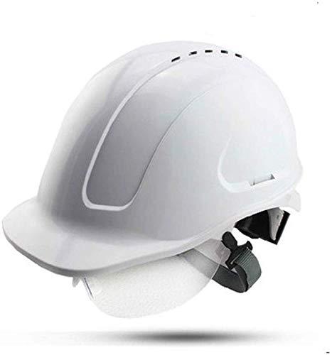 Sooiy Schutzhelm Industriehelm mit integrierten Schutzbrille, Elektriker Schutzhelm, Bauarbeiter Helm, Arbeitsschutzhelm Technik Helm Schutzhelme,Weiß