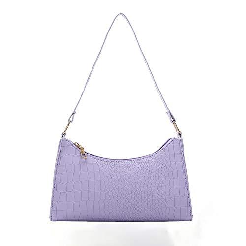 Yi-xir Bolso favorito para mujer de piel de color sólido para mujer, bolso de mano, bolso de compras, bolso de hombro para jóvenes, varias bolsas diagonales (color: morado, tamaño: A)