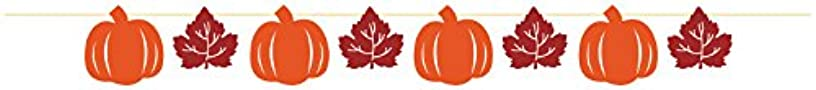 Creative Converting Pumpkins and Leaves Ribbon Banner, Orange