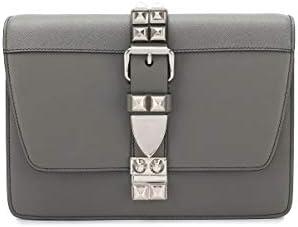 Prada Elektra Gray Calfskin Saffiano Leather Studded Crossbody 1BD120 product image