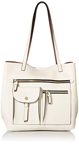 Calvin Klein Rossa Smooth Novelty Organizational North/South Tote, White Combo