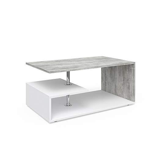 Vicco Tavolino da divano Guillermo Tavolino da salotto bianco Cemento 91 x 52 cm