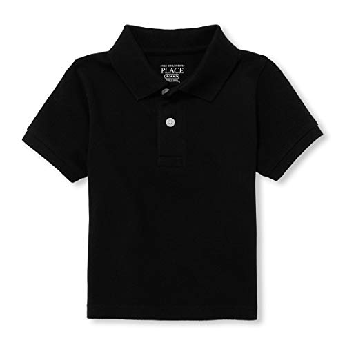 The Children's Place baby boys Short Sleeve School Uniform Polo Shirt, Black 0049, 4T US