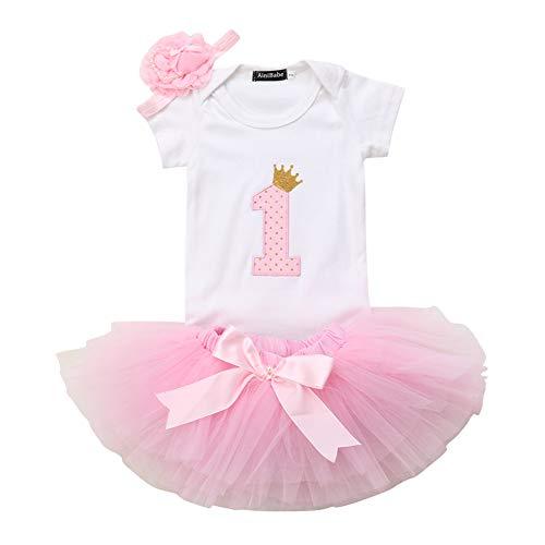 Geagodelia Babykleidung Set Baby Mädchen 1. Geburtstag Kleidung Outfit Body Strampler + Tüllrock Tütü Rock Neugeborene Kleinkinder Kindergeburtstag Geschenke 1 Jahr (Pink 492 - Kurzarm)