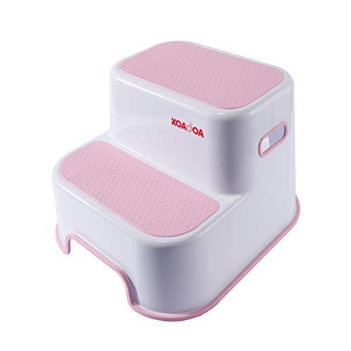 KAIDA 踏み台 子供 ステップ台 2段 幼児 大人 ステップスツール キッズ トイレ お風呂用 滑り止め (ピンク)
