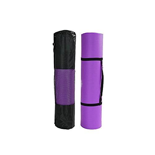 HEIYANQUANyjd Esterilla Yoga, Estera de Yoga para Todo Uso, 15 mm Ejercicio Anti-lágrimas de Alta Densidad Extra Grueso con Correa de Transporte (púrpura) Tamaño: 185 ** 90 * 1.5cm