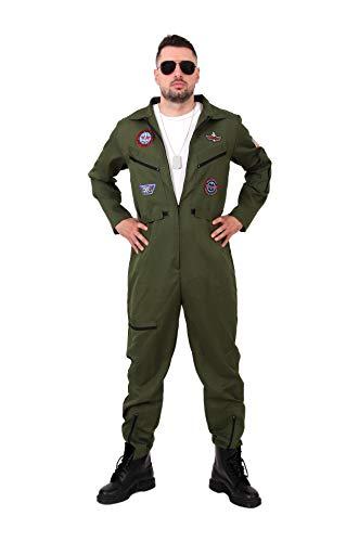 Pilotenkostüm mit GRATIS Pilotenbrille und Fliegerkette, Kostüm Pilot, Größe L, 182 - 193 cm, Top Kostüm, Gun, Karneval, Pilot, Kampfpilot