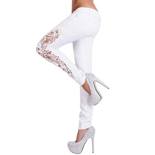 Pantalones Mujer,Vaqueros de talle bajo con inserción de encaje casual de flores de mujer Pantalones largos ahuecados LMMVP (M, Blanco)